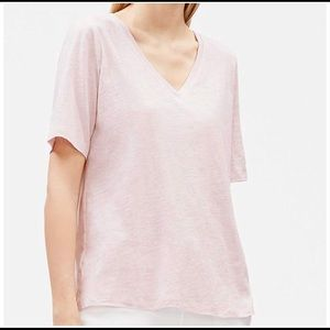 NWT Eileen Fisher VNeck Tee in Ceramic Pink -Sz XS